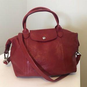 Longchamp le pliage leather red small handbag